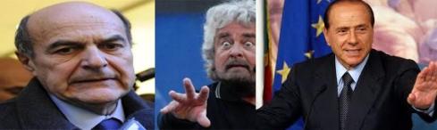 Bersani  -  Grillo  --  Berlusconi