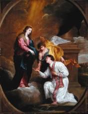 14 -Interno Basilica san-valentino-inginocchiato-riceve-un-rosario-dalla-vergine-maria