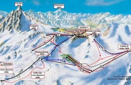15 - Sci estivo a Breuil Cervinia sul ghiacciaio del Plateau Rosà-cartina impianti e piste