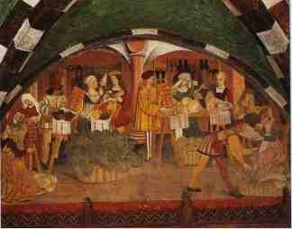 47 -Castello di Issogne- Particolare del ciclo di affreschi nel portico di ingresso scene di vita quotidiane