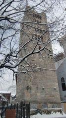 102-Aosta_Sant_Orso_Campanile_Il campanile in inverno tra i rami del tiglio secolare
