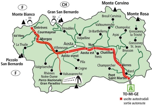 Cartina- Valle D'Aosta