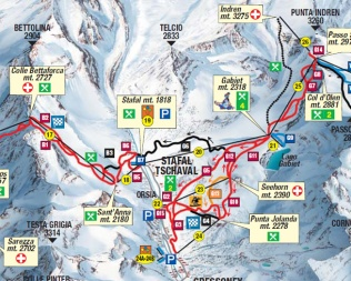 1 - -Cartina piste sci skimap gressoney la trinite