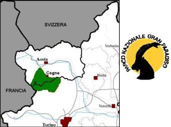 """1 - Mappa e logo del Parco Nazionale del Gran Paradiso-Il Gran Paradiso è il primo Parco Nazionale della penisola, si sviluppa a quote comprese tra gli 800 e 4061 metri della vetta del Gran Paradiso, l'unico """"quattromila"""" interamente italiano, massiccio possente che s'innalza con spettacolari ghiacciai tra Piemonte e Valle d'Aosta. Un nome fortemente evocativo, per un vero paradiso della natura e della montagna."""