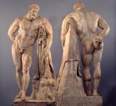 85-Conservato al Museo di Napoli. Tra le opere restituite al pubblico la più famosa è l'Ercole pensoso , copia romana di un modello bronzeo attribuito a Lisippo- Fu ritrovato nelle Terme di Caracalla.