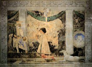 9 - Rimini. interno -Tempio-Malatestiano - Piero della Francesca, Sigismondo Pandolfo Malatesta in preghiera davanti a San Sigismondo (1451