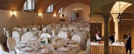 148 - Pesaro. Villa-Imperiale. sala-interna-fino-a-160-posti-ed-un-momento-dell'aperitivo-servito-nel-chiostro.