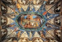 154 - Pesaro. Villa-Imperiale. Nella Sala dei Semibusti invece, il Duca assiste all'incoronazione di Carlo V, e tra le nicchie e i pilastri spiccano semibusti di personaggi antichi.Soffitto della Camera dei Semibusti, Girolamo Genga