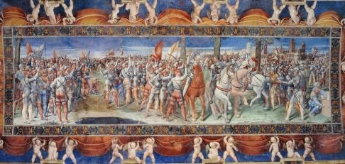 156 - Pesaro. Villa-Imperiale.Soffitto col Giuramento di , particolare ravvicinato, G. Genga.