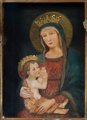 44,1 - Montefiore Conca . Santuario di Bonora interno. Questa Madonna a concesso molte grazie hai suoi devoti , tantissimi ex voto e testimonianze appese sulle stanze della chiesa che visitando si possono osservare