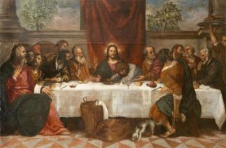 21 -Urbino - Galleria Nazionale delle Marche. Studiolo del Duca, di Tiziano il dipinto L'ultima Cena di Tiziano del 1542 1544