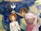 46 - Urbino - All'interno dell'Oratorio. Lorenzo e Jacopo Salimbeni- Giovanni Battista battezza Gesù, particolare