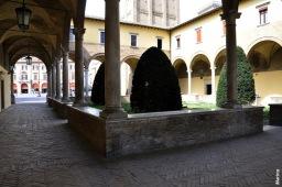 33 - Forlì - Abbazia di San Mercuriale - Annesso alla chiesa è il quattrocentesco Chiostro rettangolare, appartenente all'ex monastero dei Benedettini Vallombrosiani, varie volte restaurato a seguito dell'usura del tempo. Chiuso in origine, venne aperto su due lati negli anni '30 del Novecento. Al centro un pozzo con vera del XVII secolo