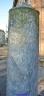 211 - Forli-Pieve-di-Santa-Maria-in-Acquedotto. All'esterno, sul sagrato della chiesa, si trova una colonna di marmo grigio con scure venature, di epoca romana, databile circa al IV secolo d.C. Non se ne conosce esattamente la funzione, ma sembra possa essere un segnale militare o più semplicemente una pietra miliare che sorgeva sul corso della via Emilia. Spostata dalla sede originaria, venne capovolta ed utilizzata per incidervi un'iscrizione che ancora oggi è possibile vedere, capovolta, nella parte bassa della colonna. Questa iscrizione fa riferimento a Costanzo II, in un periodo databile tra il 328 ed il 332 e riporta delle scritte. Spostata ancora una volta, la colonna fu posizionata all'interno della chiesa ed utilizzata come basamento per una croce. Poco dopo però, non ritenuta consona per la sacralità del luogo, fu nuovamente spostata all'esterno per ordine di un vescovo. E da quel momento non è stata più rimossa ed è ancora presente sul sagrato della pieve.