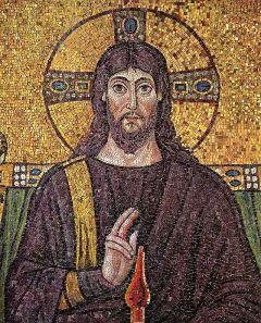 166 - Ravenna. Basilica di Sant'Apollinare in Classe. Mosaico del Cristo