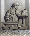 63 - Ravenna. Tomba di Dante Alighieri, particolare. Dante in lettura