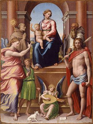 123 - Forlì. Il palazzo del Merenda, interno sale. Innocenzo-da-Imola_La-Madonna-in-trono-col-bambino-e-Santi