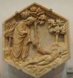 78 -Firenze. Campanile di Giotto, particolare. La creazione di Eva. Andrea Pisano .