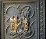 116 - Firenze. Battistero, porta sud di andrea pisano dettaglio, battesimo dei seguaci.