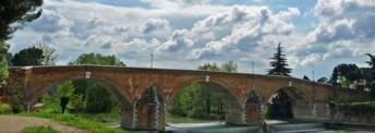 115 -Cesena. Il Ponte Vecchio è il ponte più antico di Cesena. È sito in un posto in cui il fiume Savio, che il ponte attraversa, è più stretto. Già esistente in epoca romana, il ponte fu più volte distrutto dalle piene del fiume. Il ponte che oggi si può attraversare risale al 1733, su commissione di Clemente XII. Il progetto era di Pietro Carlo Borboni, approvato da Fuga e Vanvitelli. Durante la seconda guerra mondiale fu distrutta la parte centrale del ponte, subito ricostruita.