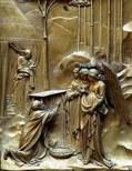 148 - -Lorenzo Ghiberti, Porta del Paradiso, Firenze, particolare della formella con Storie di Abramo.