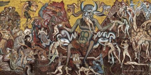128 - Firenze. Battistero. Mosaici-della-cupola. Il-Giudizio-Finale - Ambito-di-Coppo-di-Marcovaldo-1260-1270- dannati-e-l'Inferno-1024x512.