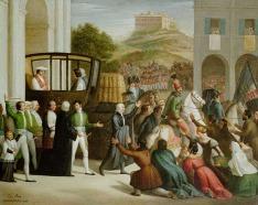 160 - E. Peroni, l'entrata di Pio v2 a cesena, 1830 0li0 su tela