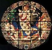 51 -Firenze. Controfaccia, dettaglio della lunetta, del mosaico dell' Inocornazione della Vergine, attribuito a Gaddo Gaddi.