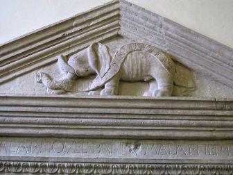 43 -Cesena Biblioteca Malatestiana, ingresso, elefante malatestiano nel timpano,