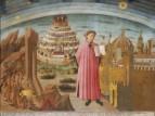 54 - Dante con in mano la Divina Commedia di Domenico di Michelino su cartone di Alesso Baldovinetti (1465), interessante anche per la precisa veduta cittadina.