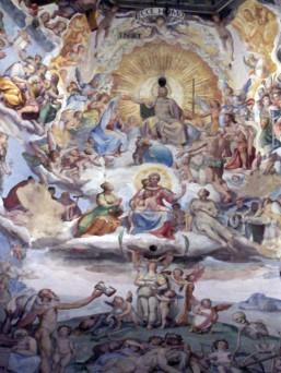 29 - Firenze . Duomo Il Cristo in Trono di Federico Zuccari. Dettaglio ravvicinato.