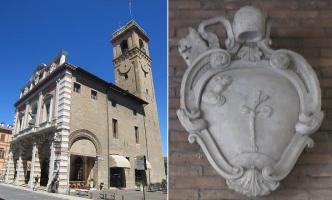 59 - Cesena sinistra) Palazzo del Ridotto; (a destra) cappotto semplificata delle armi di papa Pio VI.