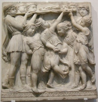 179 - Firenze. Il Museo dell'Opera del Duomo. Particolare della Cantoria di Luca della Robbia..
