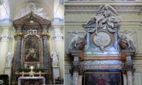 64 - Cesena - Chiesa di Santa Maria del Suffragio (a sinistra) altare maggiore; (a destra), a sinistra dell'altare con un promemoria della morte.