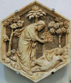 77 -Firenze. Campanile di Giotto, particolare. La creazione di Adamo. Andrea Pisano .