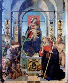 34 - Cesena Pinacoteca Comunale. Madonna in trono con il Bambino, Sant'Antonio Abate e l'Arcangelo Michele di Antonio Aleotti