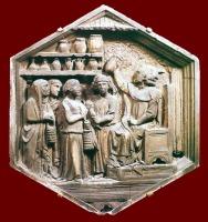79 - Firenze. Campanile di Giotto, particolare., formella Campanile di Giotto: Andrea Pisano - Medicina del XIV sec.