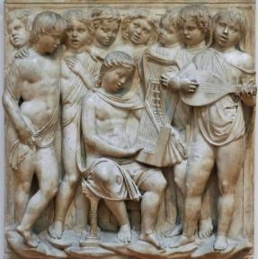 180 - Firenze. Il Museo dell'Opera del Duomo. Particolare della Cantoria di Luca della Robbia..