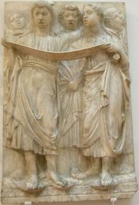 181 - Firenze. Il Museo dell'Opera del Duomo. Particolare della Cantoria di Luca della Robbia..