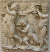 183 - Firenze. Il Museo dell'Opera del Duomo. Particolare della Cantoria di Luca della Robbia..