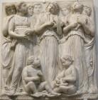 186 - Firenze. Il Museo dell'Opera del Duomo. Particolare della Cantoria di Luca della Robbia..