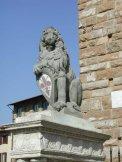 43- Firenze. Piazza Signoria. Il Marzocco di Donatello. Il Marzocco è un'opera di Donatello in pietra serena (135,5x38x60 cm) custodita nel Museo del Bargello di Firenze. Anticamente si trovava in piazza della Signoria, dove oggi, per preservarla dagli agenti atmosferici, è sostituita da una copia. Risale al 1419-1420.