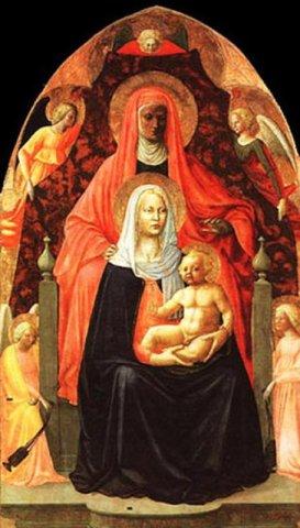 91 - Firenze. Galleria degli Uffizi sala 7. Sant'Anna Metterza di Masaccio.