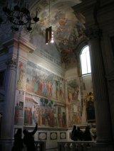 52 -Firenze. La chiesa di Santa Maria del Carmine.Cappella Brancacci. L'insieme degli affreschi di sinistra sulla parete della finestra