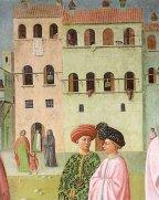 45 -Firenze. La chiesa di Santa Maria del Carmine. La cappella Brancacci, dettaglio,Guarigione, dettaglio