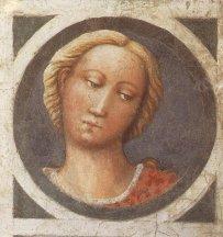 55 -Firenze. La chiesa di Santa Maria del Carmine. La cappella Brancacci. Una delle testine riscoperte: quella maschile attribuita a Masaccio