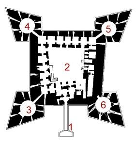 14 -Barletta. Planimetria del piano terra del Castello di Barletta. 1. Rivellino 2. Cortile interno 3. Bastione Santa Maria 4. Bastione San Vincenzo 5. Bastione Sant'Antonio 6. Bastione Annunziata