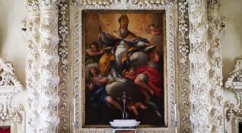 122 - Lecce. Il Palazzo del Seminario, Altare di S. Gregorio Taumaturgo dettaglio.