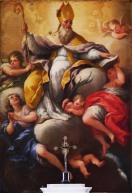 123 - Lecce. Il Palazzo del Seminario, S. Gregorio Taumaturgo, tela di Paolo De Matteis 1696, pittore napoletano.
