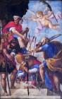 65 -Lecce. Il Duomo, interno, particolari del soffitto. Il Martirio, tela di Giuseppe da Brindisi